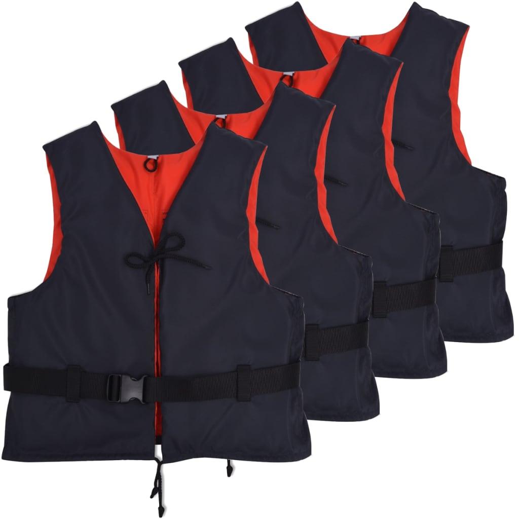 vidaXL Veste de salvare, 4 buc., bleumarin, 50 N, 70-90 kg poza 2021 vidaXL