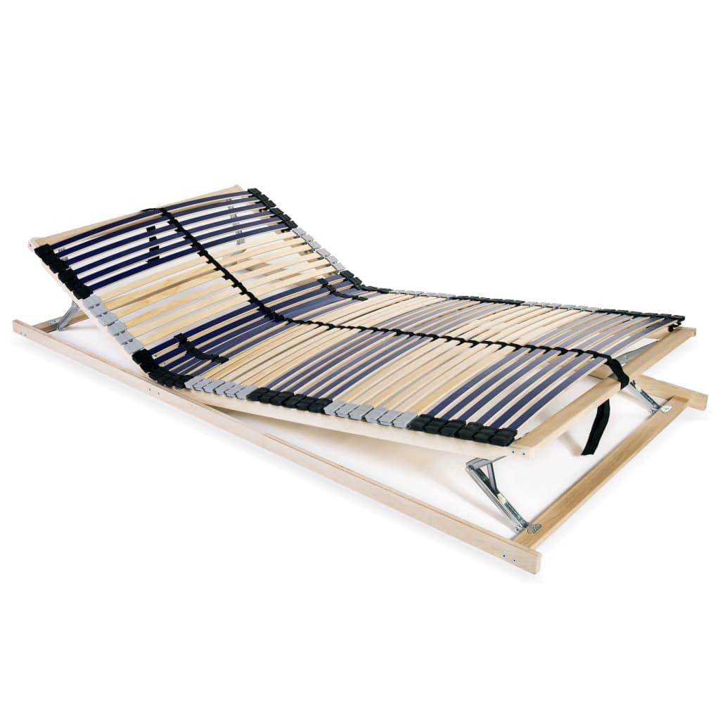 vidaXL Bază de pat cu șipci, 42 șipci, 7 zone, 140 x 200 cm poza vidaxl.ro