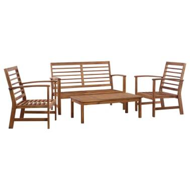 vidaXL 4 Piece Garden Lounge Set Solid Acacia Wood[1/13]