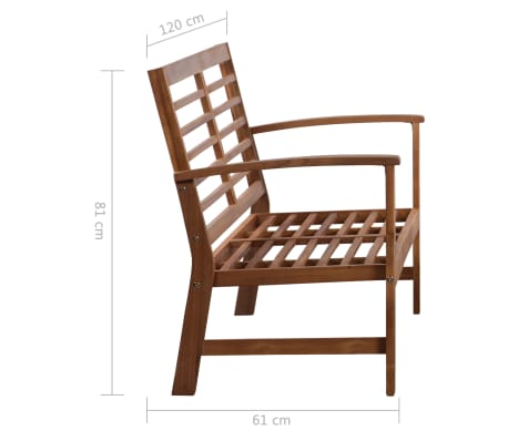 vidaXL 4 Piece Garden Lounge Set Solid Acacia Wood[12/13]