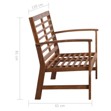 vidaXL 4 Piece Garden Lounge Set Solid Acacia Wood[12/13]