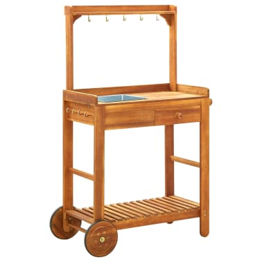 "vidaXL Garden Kitchen Trolley Solid Acacia Wood 36.2""x17.1""x55.7""[1/8]"