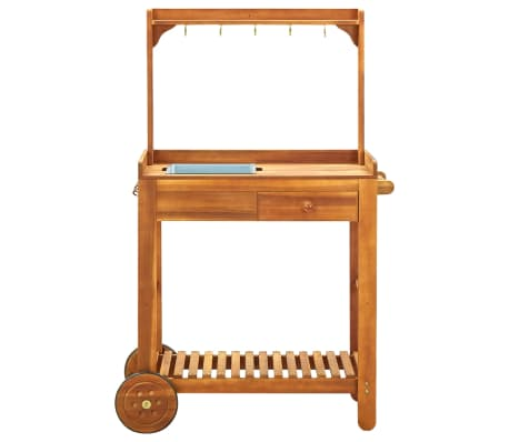"vidaXL Garden Kitchen Trolley Solid Acacia Wood 36.2""x17.1""x55.7""[3/8]"