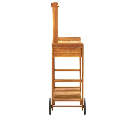 "vidaXL Garden Kitchen Trolley Solid Acacia Wood 36.2""x17.1""x55.7""[4/8]"