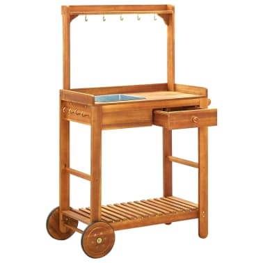 "vidaXL Garden Kitchen Trolley Solid Acacia Wood 36.2""x17.1""x55.7""[2/8]"