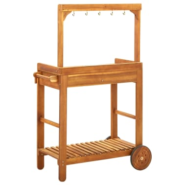 "vidaXL Garden Kitchen Trolley Solid Acacia Wood 36.2""x17.1""x55.7""[5/8]"