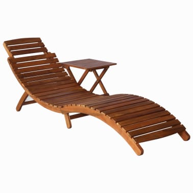 vidaXL Sunlounger with Table Solid Acacia Wood Brown[1/13]