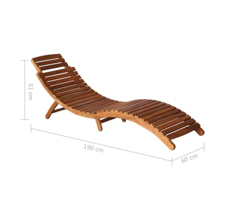 vidaXL Sunlounger with Table Solid Acacia Wood Brown[12/13]