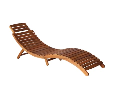 vidaXL Sunlounger with Table Solid Acacia Wood Brown[5/13]