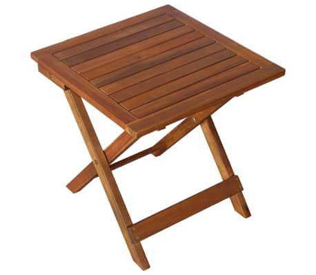 vidaXL Sunlounger with Table Solid Acacia Wood Brown[9/13]