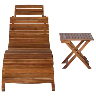 vidaXL Sunlounger with Table Solid Acacia Wood Brown[2/13]