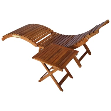vidaXL Sunlounger with Table Solid Acacia Wood Brown[4/13]