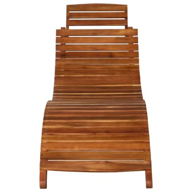 vidaXL Sunlounger with Table Solid Acacia Wood Brown[6/13]