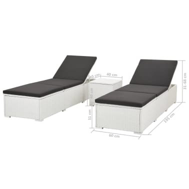 vidaXL Sun Loungers 2 pcs with Table Poly Rattan White[5/5]
