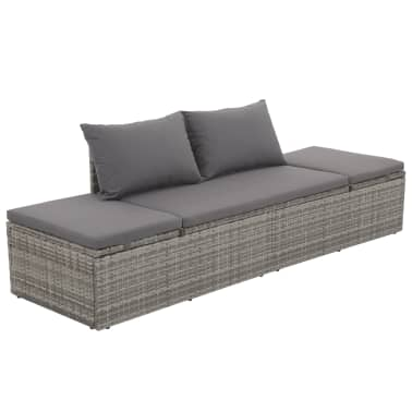 "vidaXL Outdoor Lounge Bed Poly Rattan 76.8""x23.6""x23.6"" Gray[1/6]"