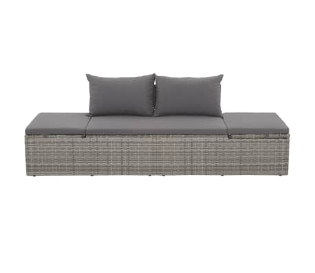 "vidaXL Outdoor Lounge Bed Poly Rattan 76.8""x23.6""x23.6"" Gray[2/6]"
