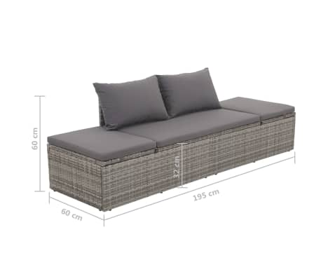 "vidaXL Outdoor Lounge Bed Poly Rattan 76.8""x23.6""x23.6"" Gray[6/6]"