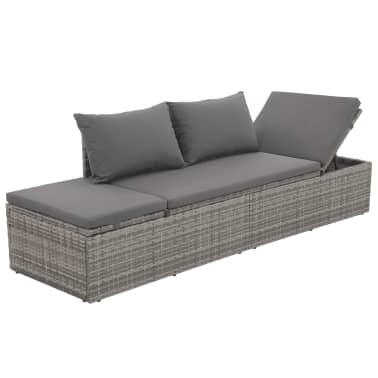 "vidaXL Outdoor Lounge Bed Poly Rattan 76.8""x23.6""x23.6"" Gray[3/6]"