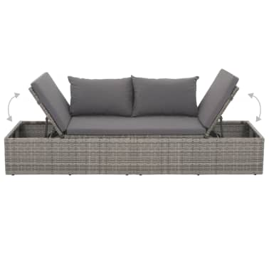 "vidaXL Outdoor Lounge Bed Poly Rattan 76.8""x23.6""x23.6"" Gray[4/6]"