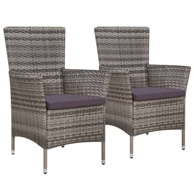 Vidaxl Garden Chairs 2 Pcs With Cushions Poly Rattan Gray