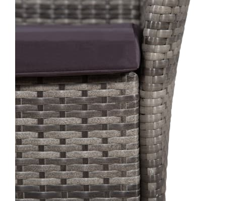 vidaXL Garden Chairs 2 pcs with Cushions Poly Rattan Gray[2/4]