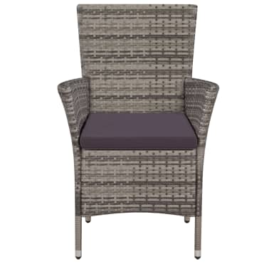 vidaXL Garden Chairs 2 pcs with Cushions Poly Rattan Gray[3/4]