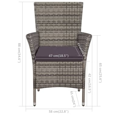 vidaXL Garden Chairs 2 pcs with Cushions Poly Rattan Gray[4/4]