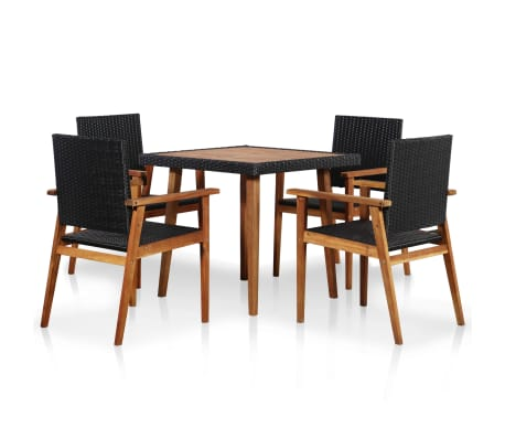 vidaXL 5 Piece Outdoor Dining Set Poly Rattan Black and Brown