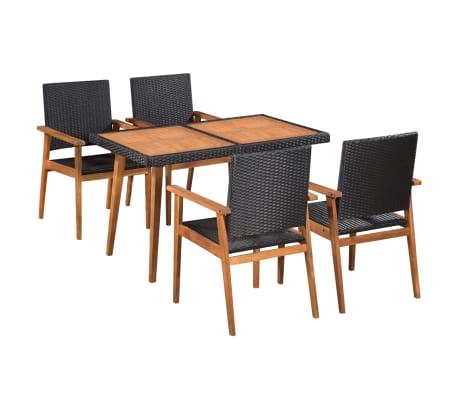 vidaXL udendørs spisebordssæt 5 dele polyrattan sort og brun