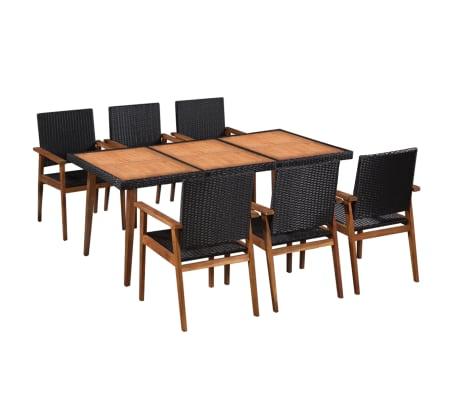 vidaXL 7 Piece Outdoor Dining Set Poly Rattan Black and Brown