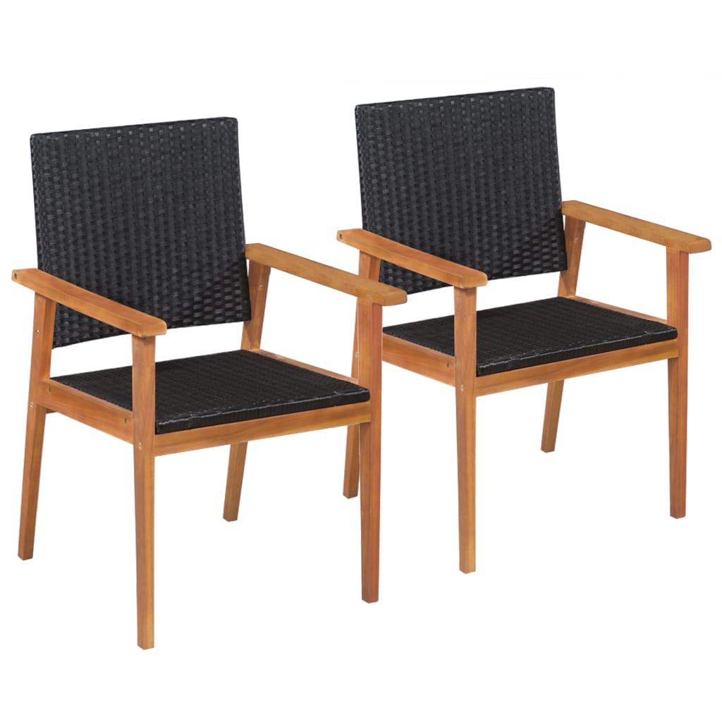 vidaXL Zahradní židle 2 ks polyratan černé a hnědé
