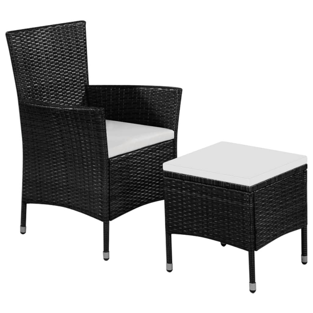 vidaXL Zahradní židle a stolička s poduškami polyratan černé