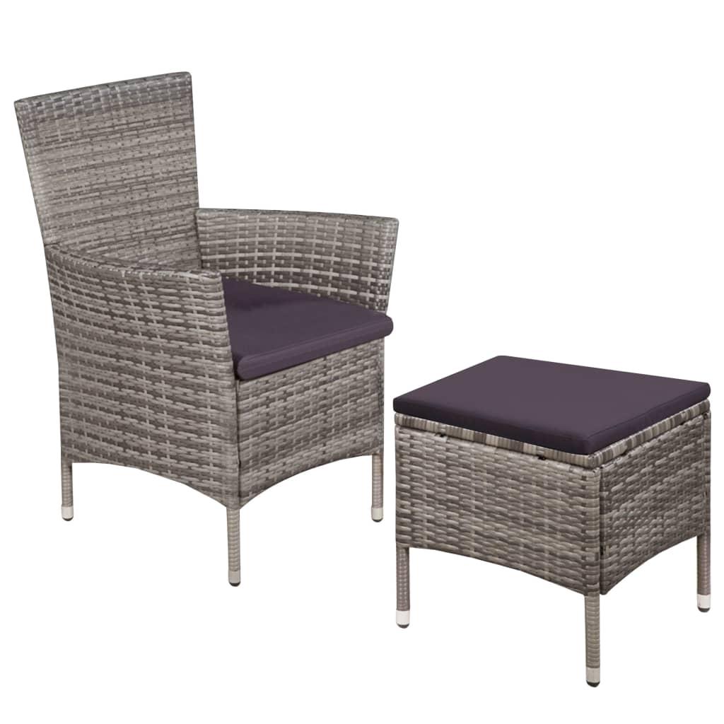 vidaXL Zahradní židle a stolička s poduškami polyratan šedé