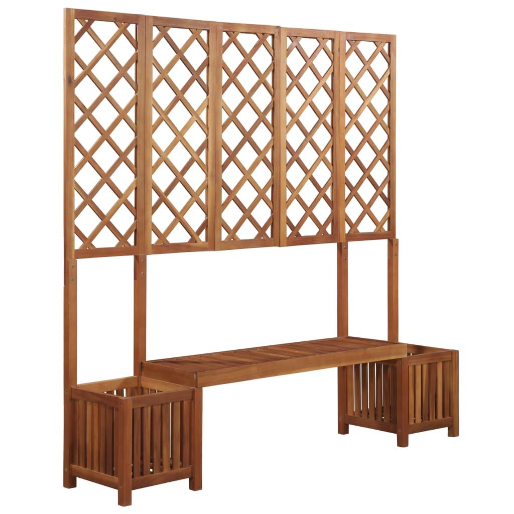 Fabriquer Treillis Bois Pour Plantes Grimpantes jardinière avec banc et treillis bois d'acacia massif - 44109