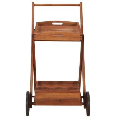 vidaXL Tea Trolley Solid Acacia Wood[3/6]
