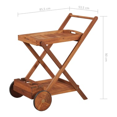 vidaXL Tea Trolley Solid Acacia Wood[6/6]