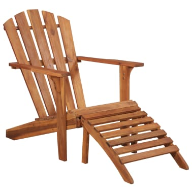 vidaXL Garden Adirondack Chair with Footrest Solid Acacia Wood[1/8]
