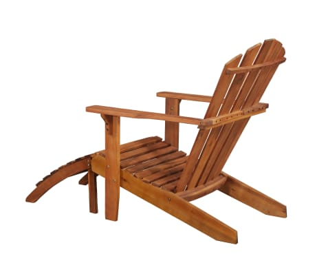 vidaXL Garden Adirondack Chair with Footrest Solid Acacia Wood[3/8]