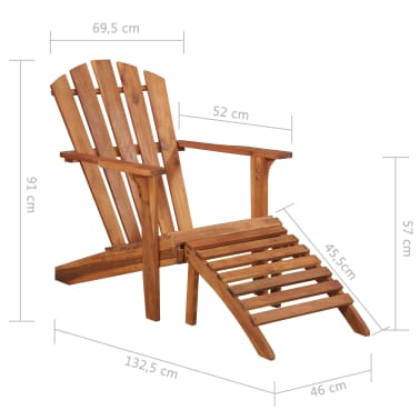 vidaXL Garden Adirondack Chair with Footrest Solid Acacia Wood[8/8]