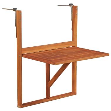"""vidaXL Hanging Balcony Table 51.1""""x35.4""""x28.3"""" Solid Acacia Wood[1/6]"""