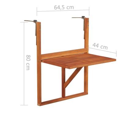 """vidaXL Hanging Balcony Table 51.1""""x35.4""""x28.3"""" Solid Acacia Wood[6/6]"""