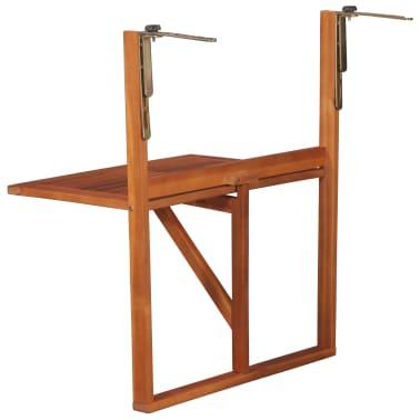 """vidaXL Hanging Balcony Table 51.1""""x35.4""""x28.3"""" Solid Acacia Wood[3/6]"""