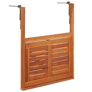"""vidaXL Hanging Balcony Table 51.1""""x35.4""""x28.3"""" Solid Acacia Wood[5/6]"""