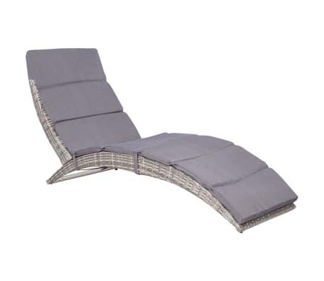 vidaXL Folding Sun Lounger with Cushion Poly Rattan Gray[1/5]