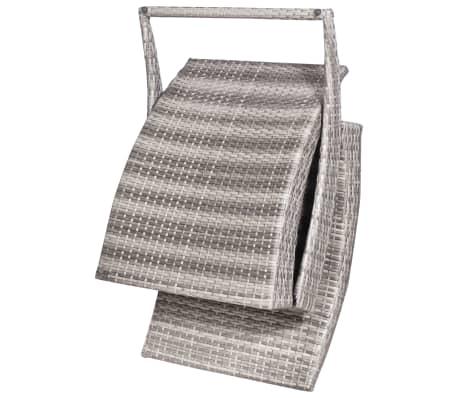 vidaXL Folding Sun Lounger with Cushion Poly Rattan Gray[3/5]