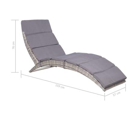 vidaXL Folding Sun Lounger with Cushion Poly Rattan Gray[5/5]