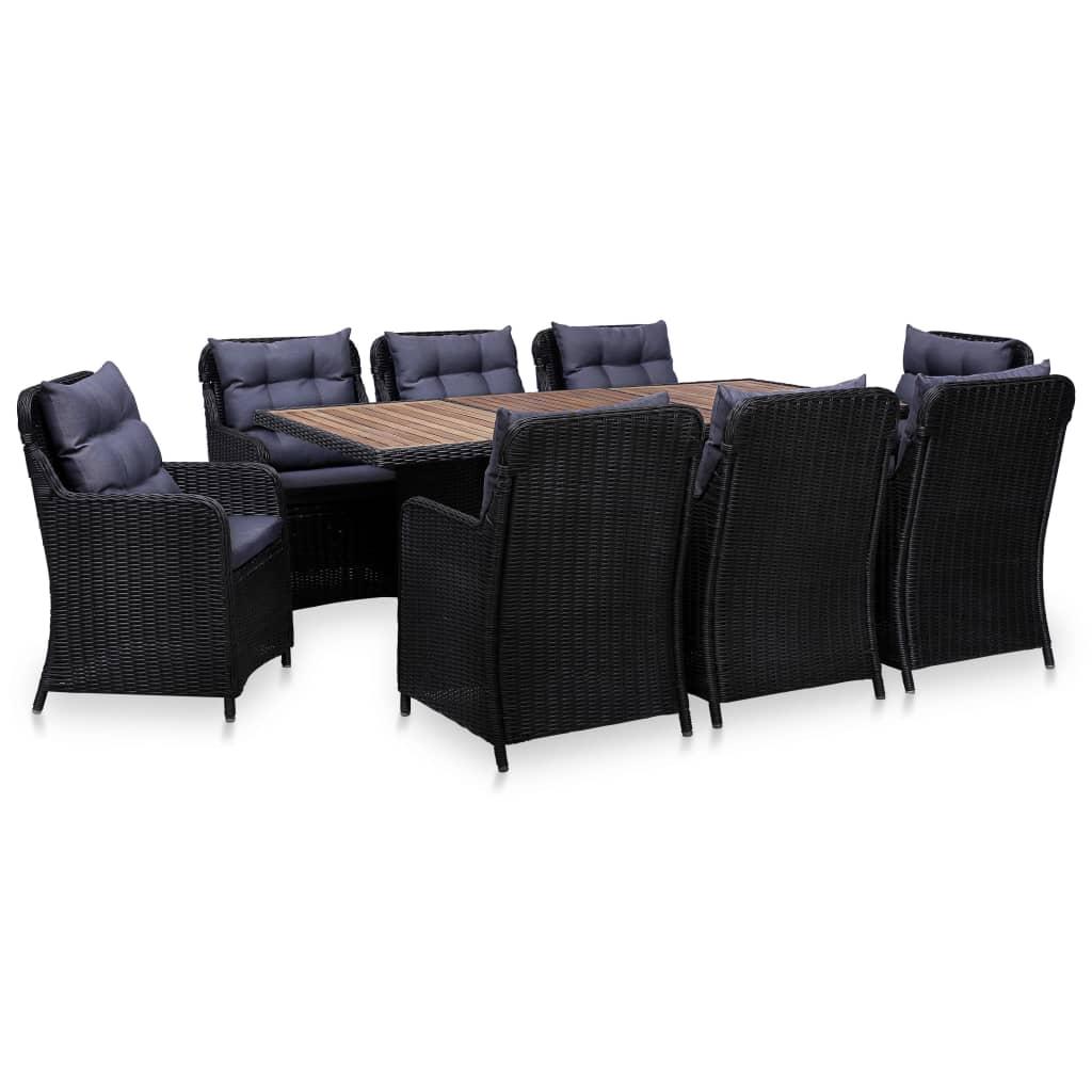 vidaXL Set mobilier de exterior, 9 piese, negru, poliratan imagine vidaxl.ro