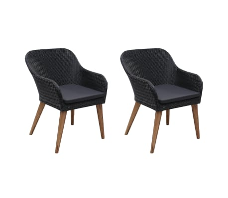 vidaXL Outdoor Chairs with Cushions 2 pcs Poly Rattan Black