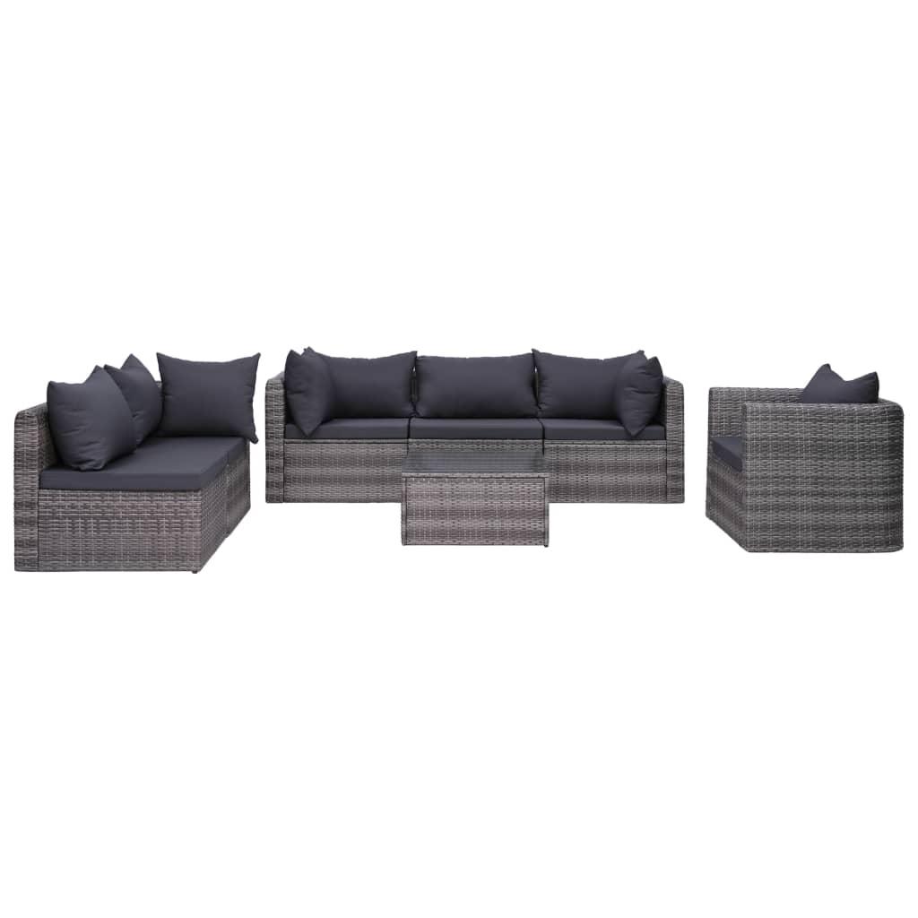 vidaXL 7-cz. zestaw wypoczynkowy do ogrodu, poduszki, rattan PE szary