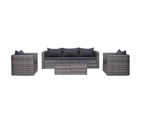 vidaXL 6 Piece Garden Sofa Set with Cushions & Pillows Poly Rattan Gray